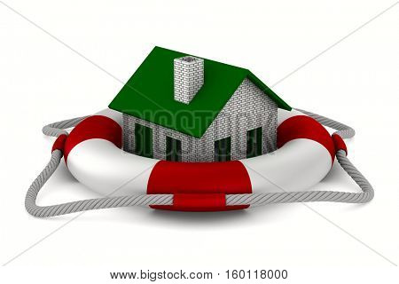 House into lifebuoy on white background. Isolated 3D image