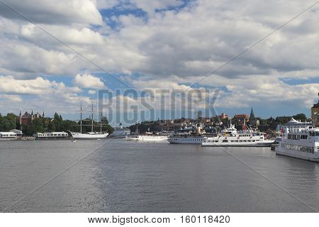 STOCKHOLM, SWEDEN - JUNE 27, 2016: This is view of the old city haven near Gamla Stan.