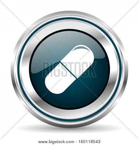 Medicine vector icon. Chrome border round web button. Silver metallic pushbutton.