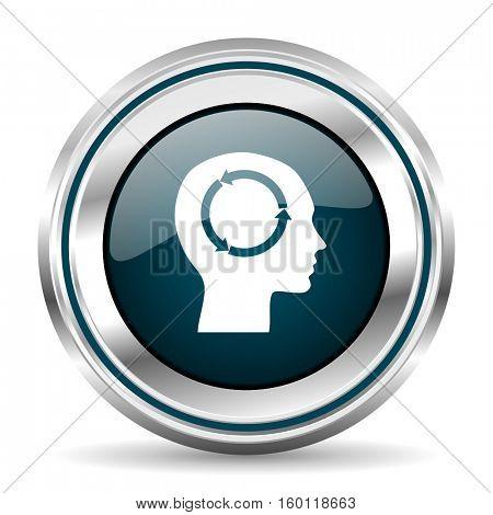 Head vector icon. Chrome border round web button. Silver metallic pushbutton.