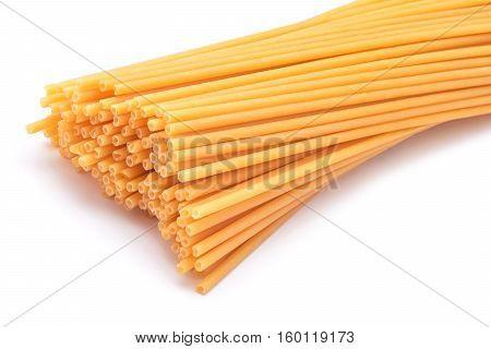 spaghetti bucatini pasta studio isolated on white