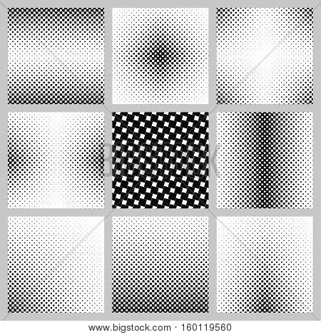 Black and white abstract angular square pattern design set