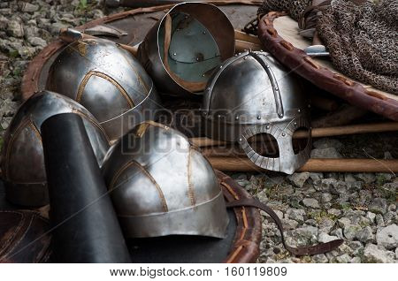 History reconstruction armour Knights and medieval helmets