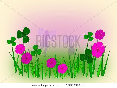 Two fairies in a meadow with pink flowers.