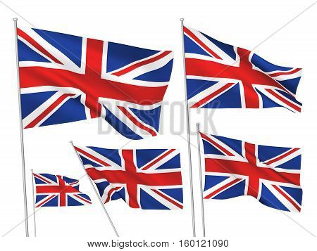 Great Britain (UK) vector flags. A set of 5 wavy 3D flags created using gradient meshes