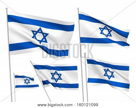 Israel vector flags. A set of 5 wavy 3D flags created using gradient meshes. EPS 8 vector