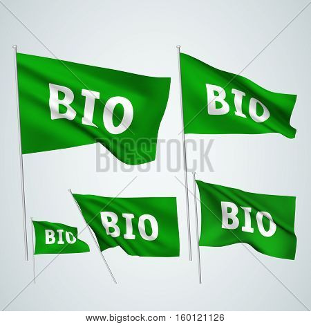Bio - green vector flags. A set of wavy 3D flags created using gradient meshes. EPS 8 vector