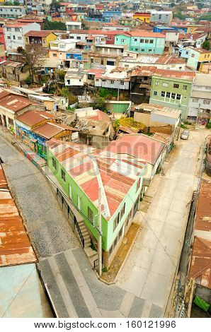 VALPARAISO CHILE - MAY 28: View of an intersection in Valparais Chile on May 28 2014