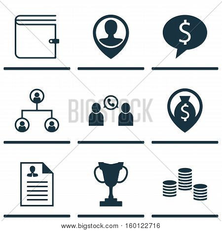 Set Of 9 Management Icons. Can Be Used For Web, Mobile, UI And Infographic Design. Includes Elements Such As Trophy, Organisation, Opinion And More.