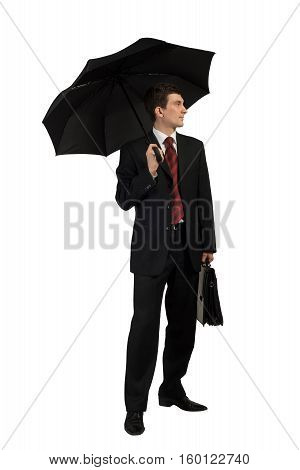 Businessman with umbrella isolated on white background