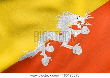 Flag Of Bhutan Waving, Real Fabric Texture
