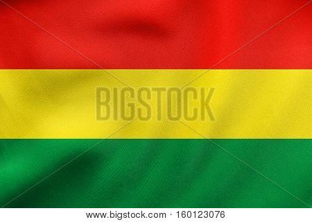 Flag Of Bolivia Waving, Real Fabric Texture
