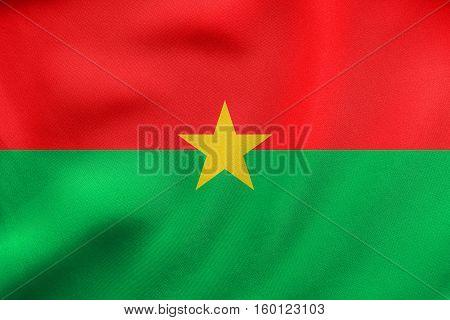 Flag Of Burkina Faso Waving, Real Fabric Texture