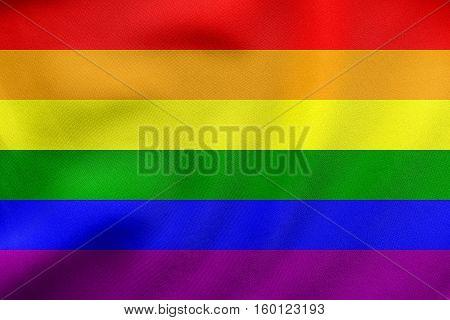 Rainbow Gay Pride Flag Waving, Real Fabric Texture