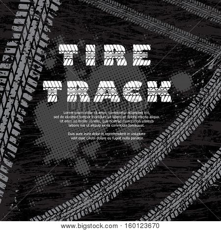 Black tire track background with gray tracks and white text