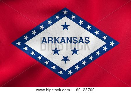 Flag Of Arkansas Waving, Real Fabric Texture