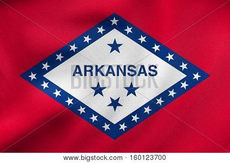 Flag Of Arkansas Waving, Real Fabric Texture