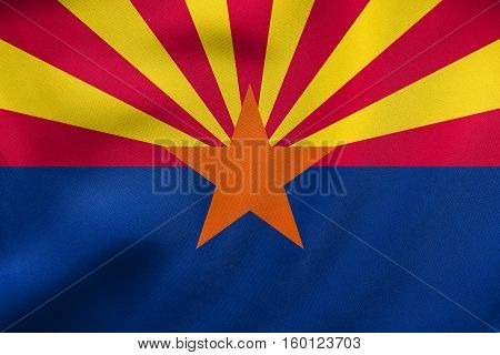 Flag Of Arizona Waving, Real Fabric Texture