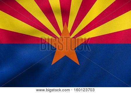 Flag Of Arizona Waving, Real Fabric Texture