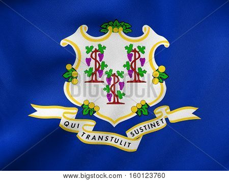Flag Of Connecticut Waving, Real Fabric Texture
