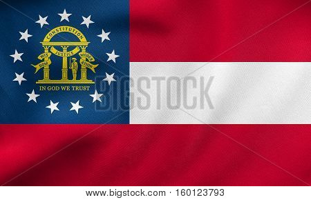 Flag Of Georgia State Waving, Real Fabric Texture