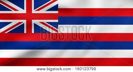Flag Of Hawaii Waving, Real Fabric Texture