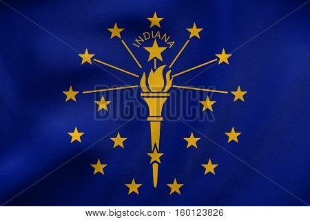 Flag Of Indiana Waving, Real Fabric Texture