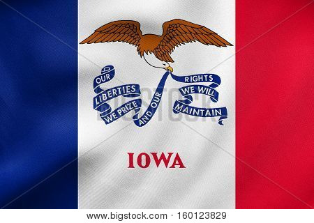 Flag Of Iowa Waving, Real Fabric Texture