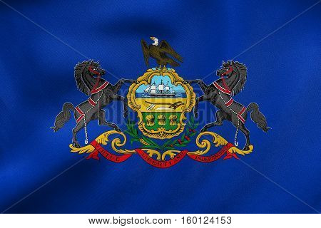 Flag Of Pennsylvania Waving, Real Fabric Texture