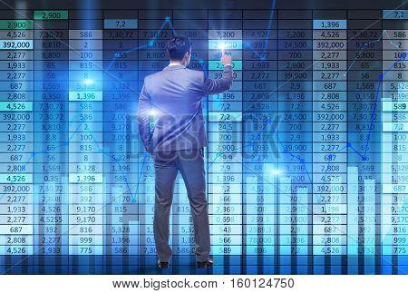 Businessman trader pressing virtual buttons