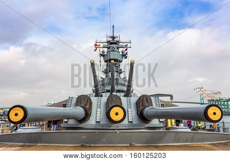 SAN PEDRO CA/USA - JANUARY 18 2016: USS Iowa BB-61 at the ISS Iowa Museum.