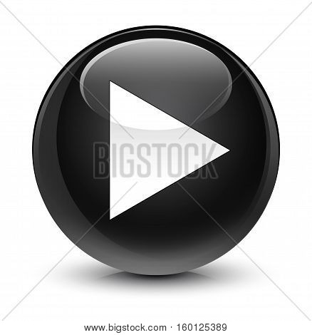 Play Icon Glassy Black Round Button