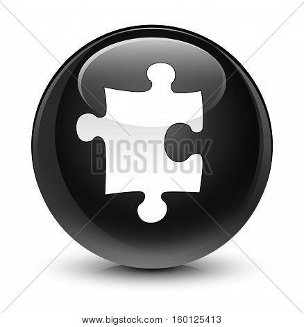 Puzzle Icon Glassy Black Round Button