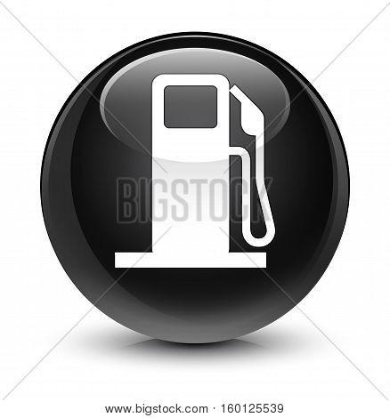Fuel Dispenser Icon Glassy Black Round Button