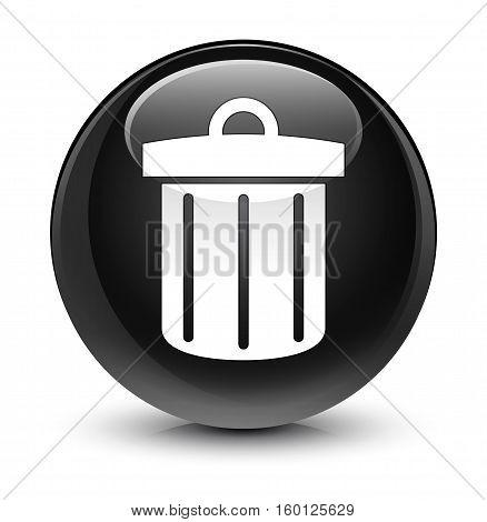 Recycle Bin Icon Glassy Black Round Button