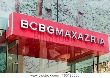 BEVERLY HILLS CA/USA - APRIL 10 2016: BCBG Max Azria retail store exterior. BCBG Max Azria is a global fashion house based in Los Angeles.