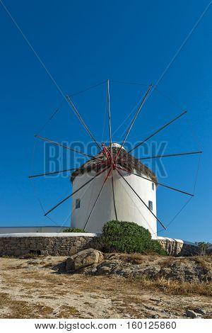 White windmill on the island of Mykonos, Cyclades, Greece