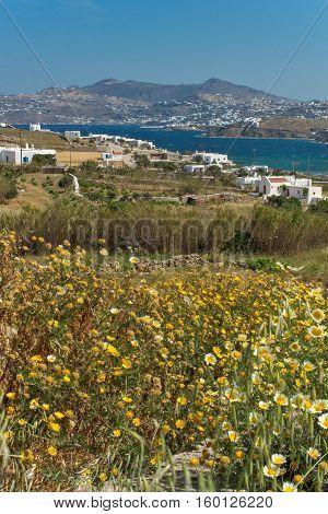 Amazing spring panorama of island of Mykonos, Cyclades, Greece