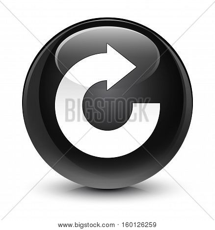 Reply Arrow Icon Glassy Black Round Button