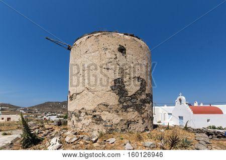 Ruins of windmill in Town of Ano Mera, island of Mykonos, Cyclades, Greece