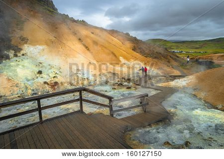 Geothermal area with hot springs on Iceland summer time poster
