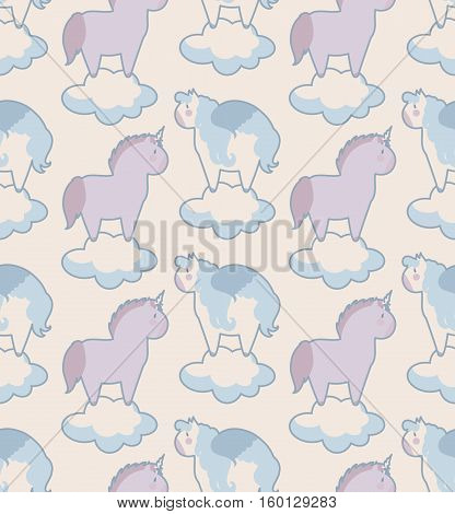 simple seamless pattern with Unicorn and Pegasus