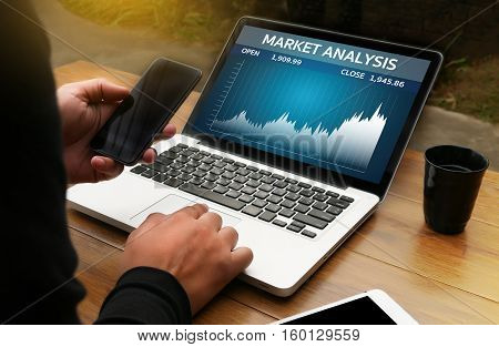 Man Analysis The Market On Computer Market Analysis,  Business Team Investment Entrepreneur Trading
