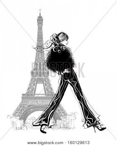 Fashion model by Eiffel tower - vector illustration