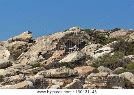 rock formations in kolymbithres beach, Paros island, Cyclades, Greece