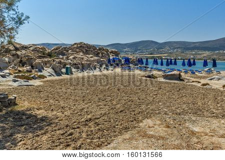 Clean Waters and  rock formations of kolymbithres beach, Paros island, Cyclades, Greece