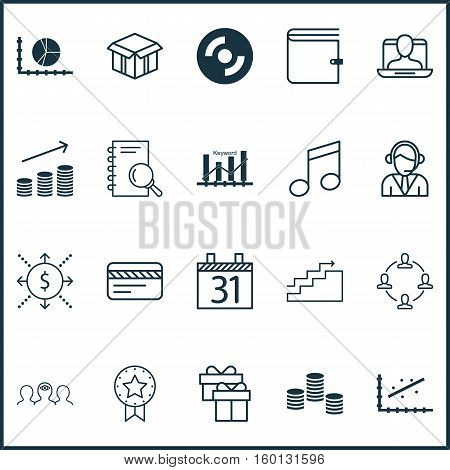 Set Of 20 Universal Editable Icons. Can Be Used For Web, Mobile And App Design. Includes Elements Such As Wallet, Circle Graph, Crotchets And More.
