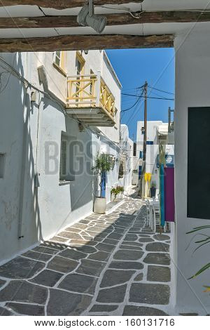 Typical street in Naoussa town, Paros island, Cyclades, Greece