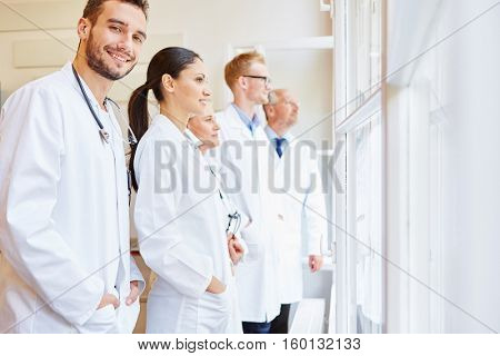 Doctors as a team at clinic with doctor and assistants