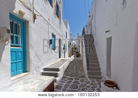 Steet and Old stone house in Naoussa town, Paros island, Cyclades, Greece